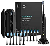 Paraiba White Black Series Whitening Toothbrush - 12 DuPont Brush Heads & Travel Case Included - Ultra Sonic 80,000 VPM Motor & Wireless Charging - 4 Modes w Smart Timer - Modern Electric Toothbrush
