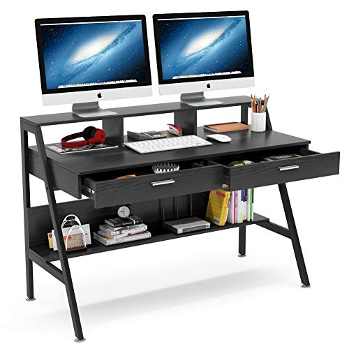 home office desk with storages Tribesigns Computer Desk with Storage Shelf & Drawers, Modern 47 inch Office Writing Desk Study Table with Monitor Stand Riser for Home Office Use (Black)