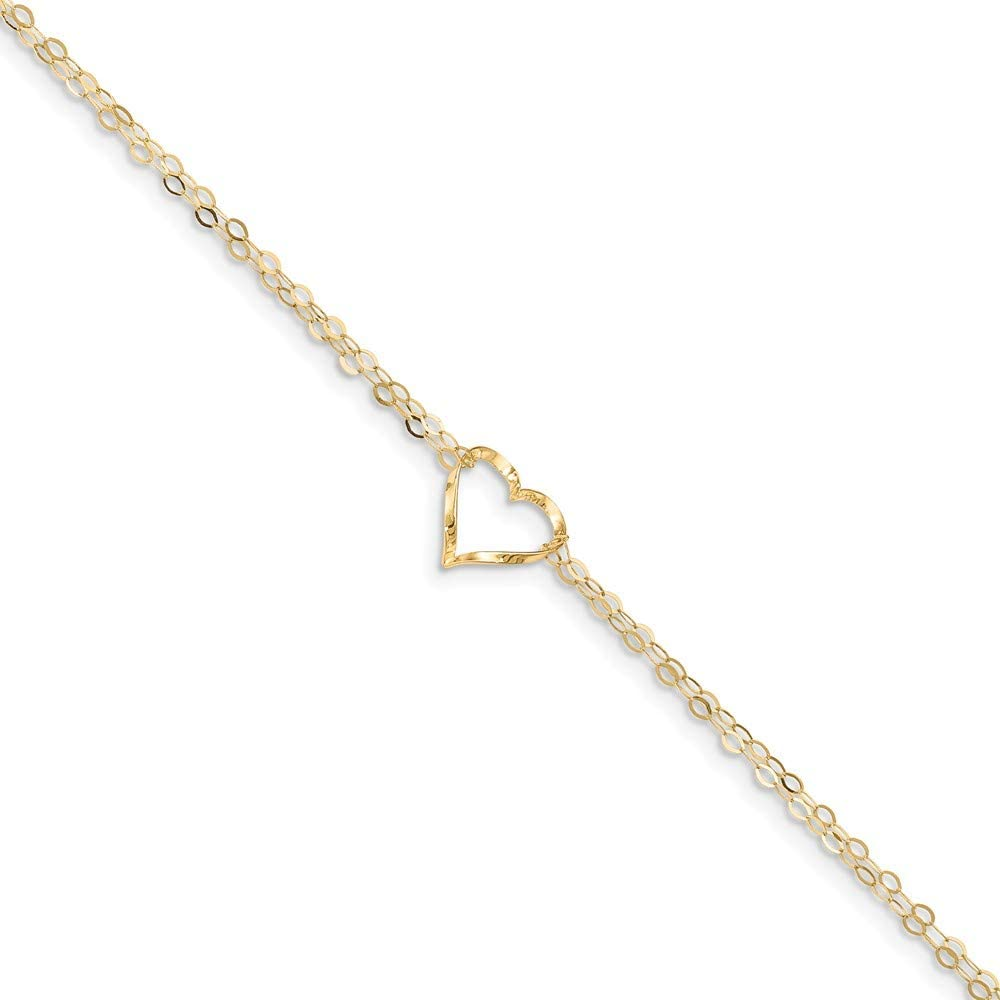 9 inch+1 inch 14k Yellow Gold Double Strand Heart Anklet
