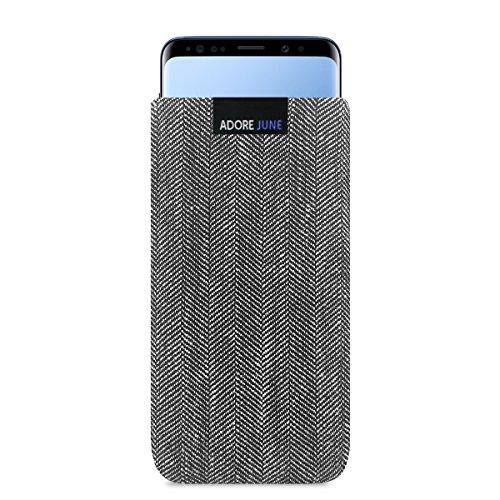 Adore June Business Tasche für Samsung Galaxy S9 Handytasche aus charakteristischem Fischgrat Stoff - Grau/Schwarz | Schutztasche Zubehör mit Bildschirm Reinigungs-Effekt | Made in Europe