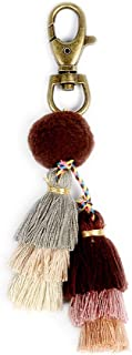 Pom Pom Tassel Keychain - Women's Novelty Keychains For Purse Bag Charm, Unique Gifts For Girls Jewelry (Brown) …