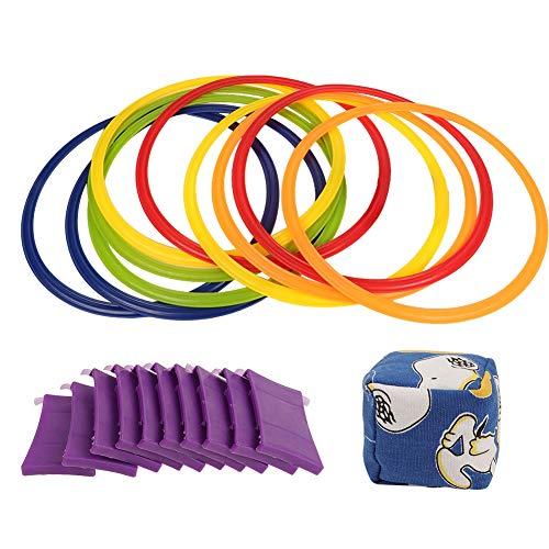 Alomejor Kids Hopscotch Ring Spiel Hop & Count Hopscotch Rug Jumping Rings(28cm)