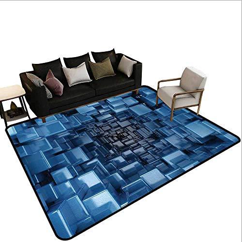 MsShe Superior hal tapijt Abstract, Digitale Moderne Stijl Neon Lijnen Verticale Gestreepte Bands in Warm Tones Beeld, Multi kleuren