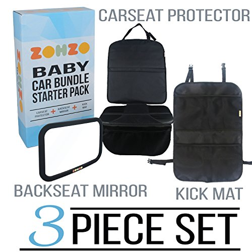 Zohzo Baby Car Bundle - Car Seat Protector Cover, Baby Car Mirror, Kick Mat Organizer  Perfect Gift for Baby Shower, New Infants, and Rear Facing Car Seats