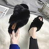 XZDNYDHGX Invierno Peluche Cerradas Andar Calienta Pantuflas,Zapatillas de Felpa borrosas para Mujer, Sandalias de Plataforma y Zapatillas, Sandalias para Mujer, Negro EU 37 / EU 38