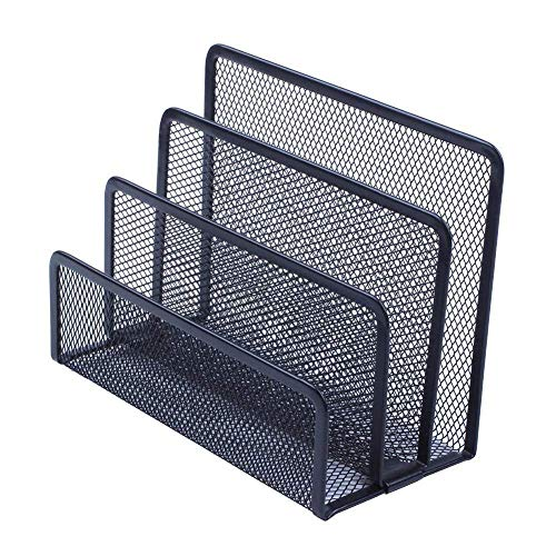 Dirgee Vertical Storage Shelf, Organizer Pan with 3 Brochure Holders File Organizer Pen Letter Container Wire Mesh Black from Office Desk, Folder Dividers