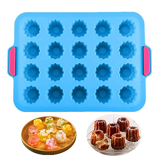 KeepingcooX® 20 Mulden Gourmet Cannele Bordelais Form, Geleeform, Mini Muffin Blech Silikon Backform für 20 Canelés Antihaft Grün/Blau