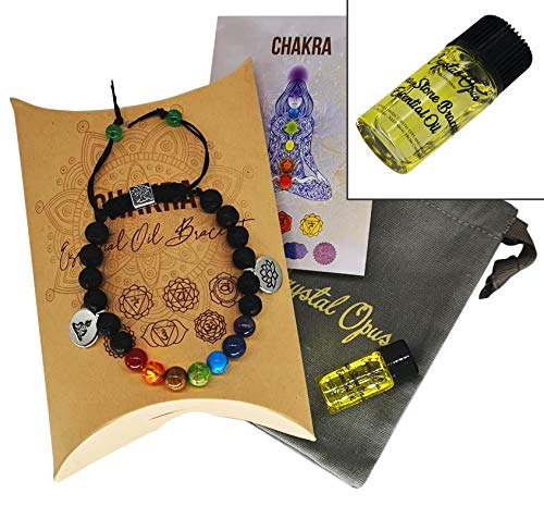 Chakra Crystal Diffuser Bracelet, Essential Oil, Jewellery Bag & Meaning Card. 100% Natural Healing Stones & Lava Beads. Women's Jewellery. All Made by Hand. Comes in Chakra Gift Box.