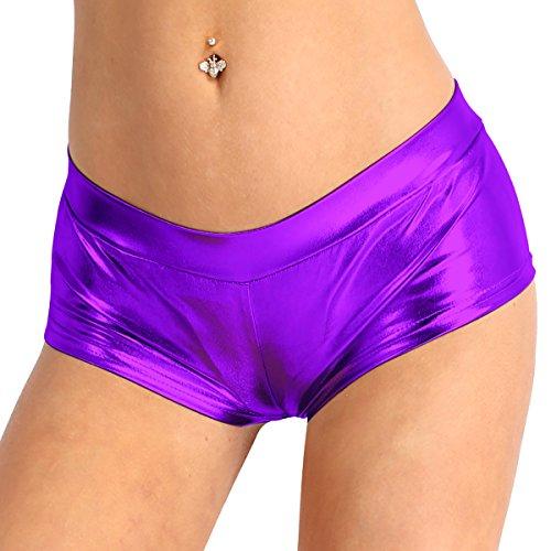 YiZYiF Pantalones Cortos Push Up Mujer Chica Wetlook Bikini Sexy Shorts Brillantes Mini Pantalones Hot Pantis Culottes Ropa Pole Dance Clubwear