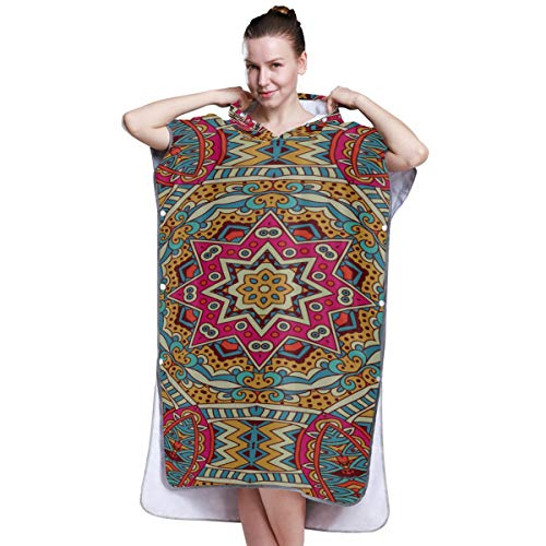 Yushg Indian Tribal Ethnic Style Poncho Towel Women Womens Poncho Towel Towel Poncho for Boys for Surfing Swimming Bathing One Size Fit All