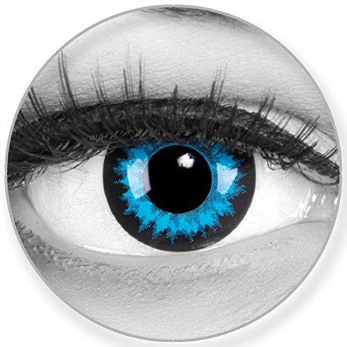 Funnylens Farbige blaue Kontaktlinsen Blue Crystal - weich ohne Stärke 2er Pack + gratis Behälter – 12 Monatslinsen - perfekt zu Halloween Karneval Fasching oder Fasnacht