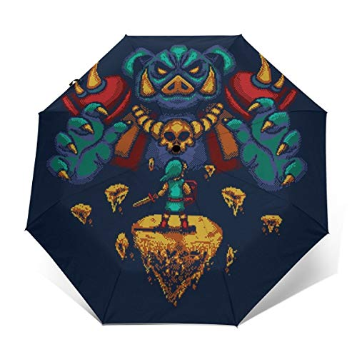 Ganon The Final Boss Pixel Legend of Zelda Paraguas Plegable Compacto de Apertura y Cierre automático, Plegable, Parasol de Viaje
