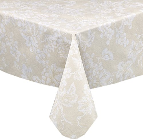 Grapevines Contemporary Grape Print Heavy 4 Gauge Vinyl Flannel Backed Tablecloth, Indoor/Outdoor Wipe Clean Tablecloth, 60 Inch x 120 Inch Oblong/Rectangle, Ivory