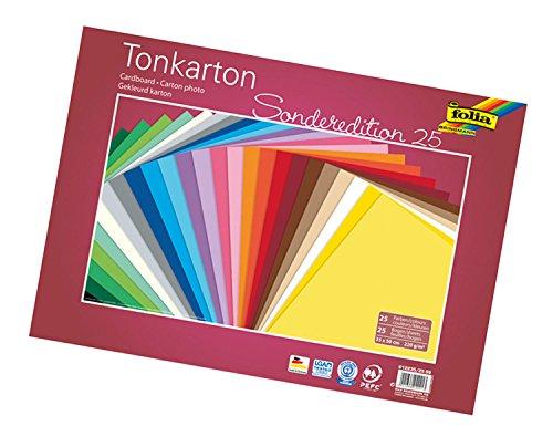 folia 612235/25 99 - Tonkarton Mix 35 x 50 cm, 220 g/qm, 25 Bogen sortiert in 25 Farben - ideale Grundlage für zahlreiche Bastelideen
