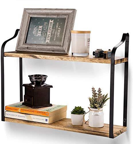 HAITRAL 2-Tier Floating Shelves Wall Mount, Wood Decorative Hanging Shelf with Large Storage for Living Room Bedroom Kitchen Pantry