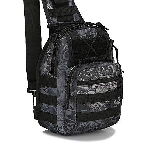 QND,Rucksack Outdoor-Rucksack EDC Schulter Schultertasche Utility Travel Trekking Sport Camping Wandern Jagd 600D Pack, Black Python, a