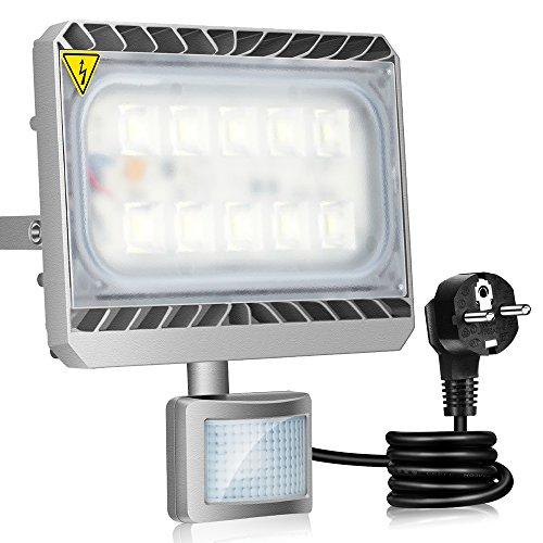Gosun 50W LED Luz de inundación Detector de movimiento Iluminación de pared exterior Impermeable 6000K 4500LM Lámpara de seguridad ligera Ideal para jardín