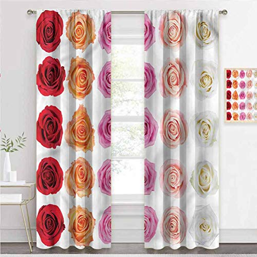 painting-home Rod Pocket Window Curtains Rose, Affection Love Celebration Blackout Patio Door Curtain Panel Block Light Extremely Well W72 x L84 Inch