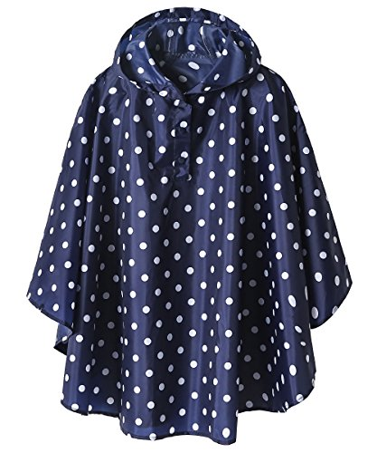 Lightweight Kids Rain Poncho Jacket Waterproof Outwear Rain Coat,Blue Polka Dot,XL