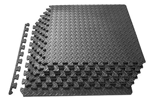 "ProsourceFit Exercise Puzzle Mat 1/2"" - Grey"