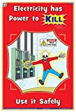 TeachingNest | Electricity has power to kill | English | 33x48 cm | Electrical Safety Poster | Industrial Safety Posters | Wall Sticking