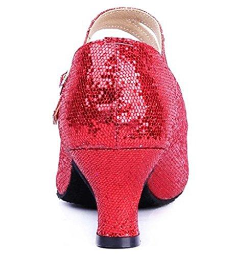 Dayiss® Mädchen Damen Pailletten Standard Tanzschuhe Ballsaal Latein Tango mit (35, Rot) - 2