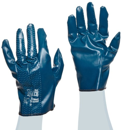 Ansell Hynit 32-125 Guanto Oleorepellente, Protezione Meccanica, Blu, Taglia 10 (Sacchetto di 12 Paia)