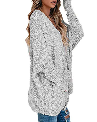 Winter Women'S Coat Knitted Double Bag Cardigan Sweater Gray