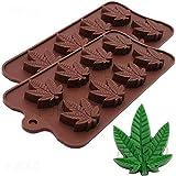 Marihuana-Blatt-Silikon-Süßigkeits-Form-Eiswürfel-Behälter, 2 Satz