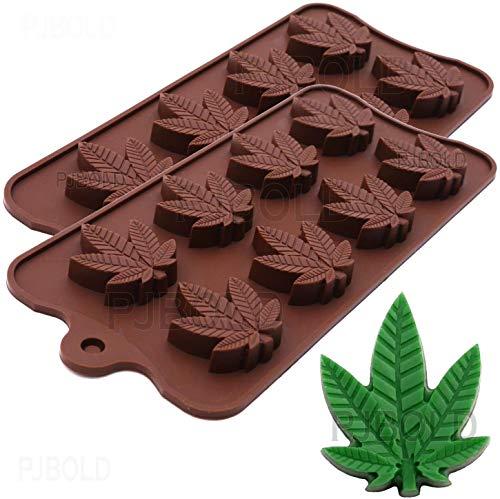 Marihuana Cannabis Hanfblatt Silikonformen für Topf Süßigkeiten Schokolade Gummy Gummies 2 Stück