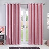 """Dreamscene Star Blackout Curtains for Kids Bedroom Pair of Eyelet Thermal Panels - Blush Pink, 46"""" wide x 72"""" drop"""