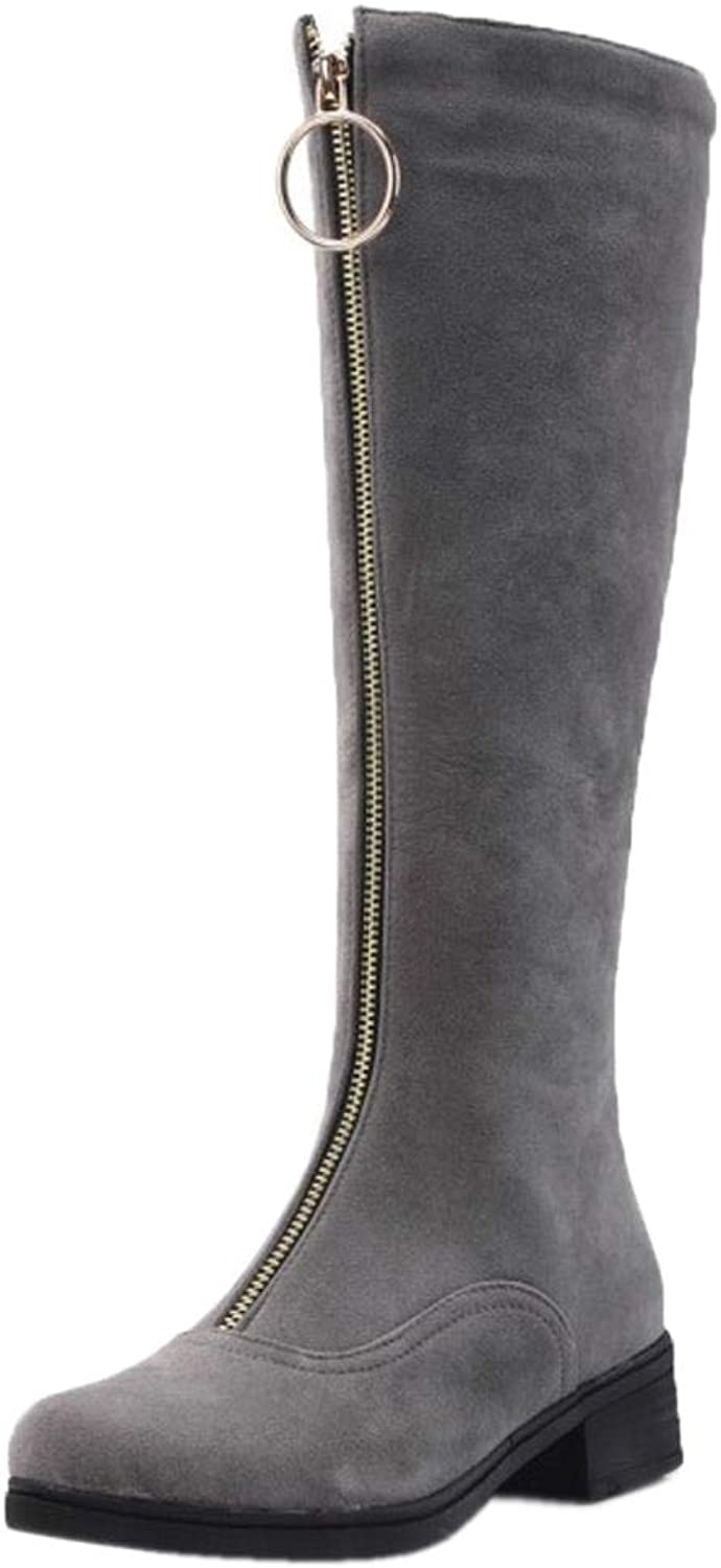 KemeKiss Women Zip Knee Boots Low Heel