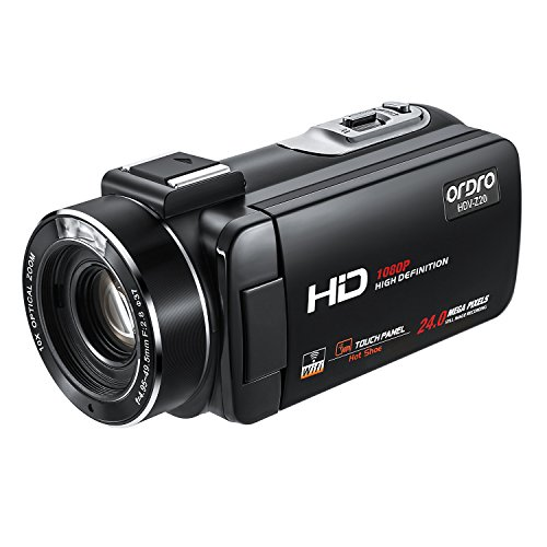 Ordro Z20 1080P Camcorder Full HD Video Camera(1080P 30FPS,16X Digital Zoom, 3.1 Inch IPS Touch Screen, 2 Batteries)- Black