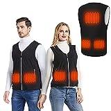 MIBABO Beheizbare Weste Herren Heizweste Damen Beheizte Jacke Wärmeweste Polarfleece 3 Temperaturstufen Waschbar Schwarz (M)