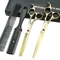 7.0 インチ髪カットはさみ櫛たはさみケース、髪カット鋏髪間伐鋏個人と専門家のための設定 (ゴールデン)