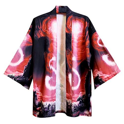 serliy Herren japanischen Stil T-Shirt Kimono Cardigan Hemd Mantel Strickjacke Bademantel Lose Druck Kampfkunst Uniform Persönlichkeit Kleidung Bluse Top