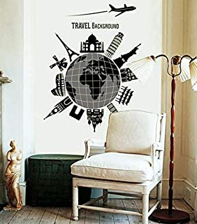 Global Travel Fluorescent Luminous Stickers Affixed Wall Home Decor Living Room Wall Decoration