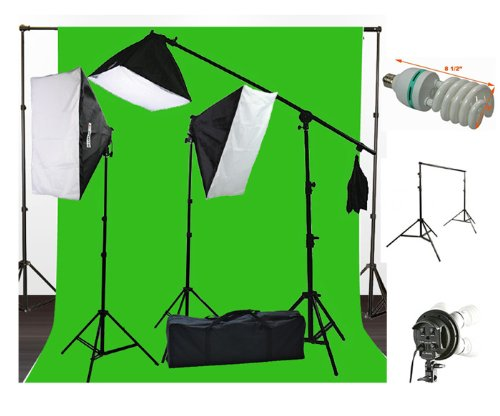 ePhoto 10 x 20 Muslin Chromakey Green Screen Background Support Stand Kit 2700 Watt Hair Light Boom Stand Studio Photo Video Lighting Kit H604SB-1020G