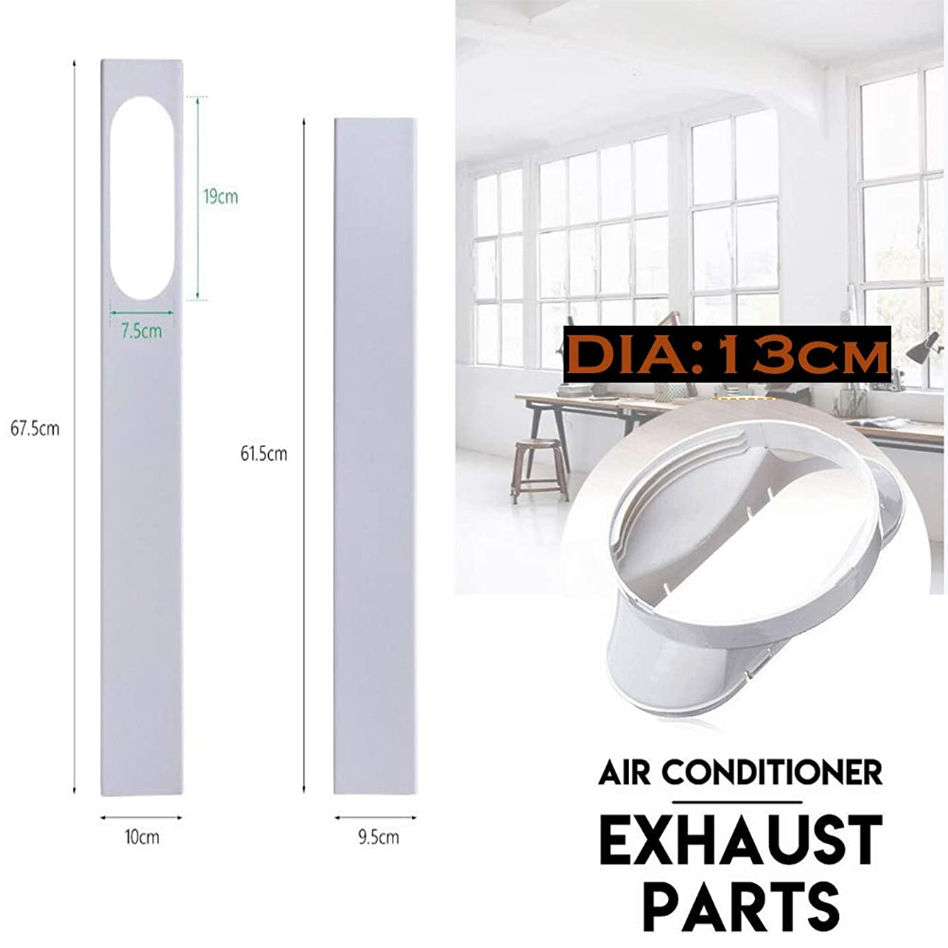 2Pcs / 3Pcs Window Slide Kit Plate Exhaust Hose Adapter for Air Conditioner/DIAMETER 5.12 INCHES CM EXHAUST PIPE INTERFACE 1 / ADJUSTABLE LENGTH 120 CM / 180 CM