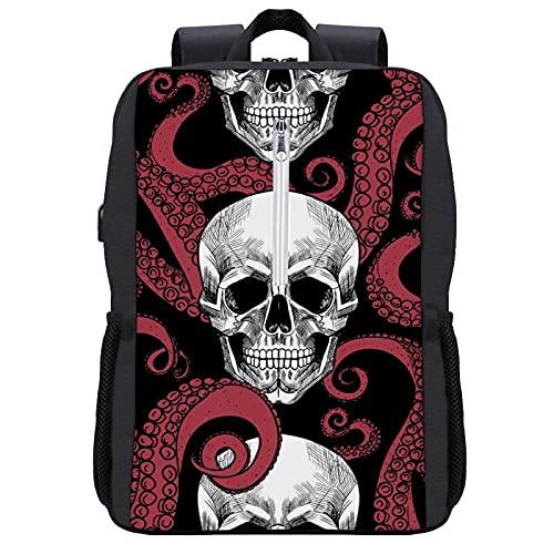 Zaino da viaggio per computer portatile, ampia borsa da lavoro, leggera, con porta di ricarica USB, ideale come regalo per uomini e donne, Stile nero5, Taglia unica