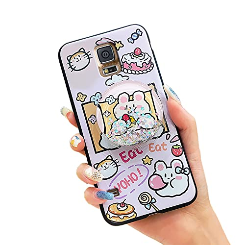 Carcasa para Samsung Galaxy S5/I9600, diseño de moda, resistente a la suciedad, diseño de Lulumi, funda trasera de TPU para mujer, diseño de conejito rosa y pastel