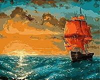 油絵 数字キットによる デジタル インテリア キャンバスの油絵子供 ホーム オフィス装飾 40x50センチ-海でのセーリング_額装