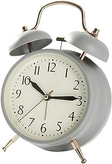 ツインベル目覚まし時計バッテリー駆動、クラシックメタルアラームスヌーズクロック、非ティック、バッテリー駆動、ナイトライト機能、クォーツベッドサイド/テーブルアラームクロック