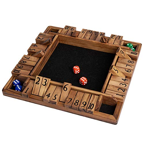 ROPODA 4 Way Shut The Box Dice Game Wooden 24 Players for Kids amp Adults and Black Felt 4 Sided Wooden Board Game 10 Dice  Game Rules Amusing Game for Learning Addition 12 inch Stained Wood