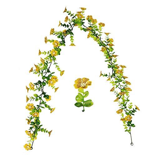 CJFael Vid artificial falso de 150 cm de eucalipto, flor de ciruela, viña artificial para colgar en el hogar, jardín, decoración de ventana, jardín, boda, fiesta, color amarillo