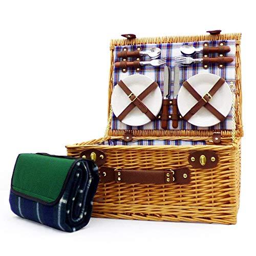 Henley 4 persona o cama de matrimonio juego de cesta mimbre cesta de Picnic con rojo, blanco y azul forro con accesorios y a verde Picnic manta de forro polar resistente al agua ideas de regalo para el día de la madre -, Valentines, regalos, cumpleaños, hombre, él, Dad, Her, Mum, Thank you, aniversario de boda, de compromiso con piedra, 18th, 21st, 30th, 40th, 50th, 60th, 70th, 80th, 90th