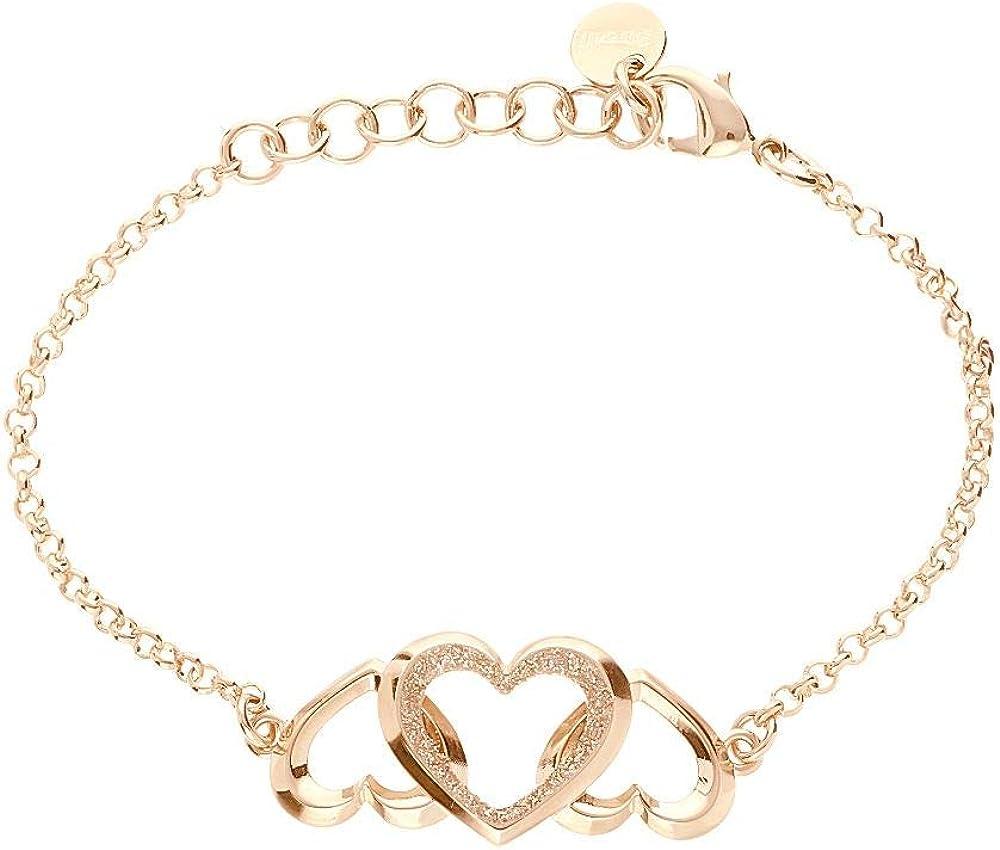 Stroili, bracciale per donna,in in ottone oro rosa con cuori con glitter 1668379