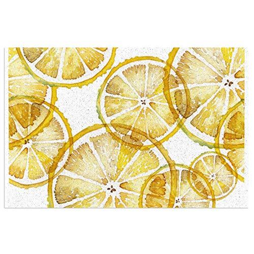 Alfombra de bienvenida rústica de acuarela con diseño de rodajas de limón, para puerta delantera, interior y exterior, de goma, antideslizante, resistente al agua, duradera, 15.7 x 23.6 pulgadas