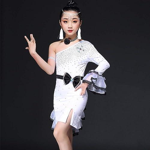 JIE. Danse Latine de Nouveaux Enfants Jupe Filles Costumes d'été classement Perforhommece vêtements compétition vêtements d'exercice,blanc,170cm