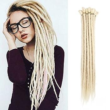 20 inch 100% Handmade Dreadlocks Extensions Fashion Reggae Hair Hip-Hop Style Soft faux locs Crochet Braiding Hair For Women/Men  20Inch 10Pcs Pale Blonde
